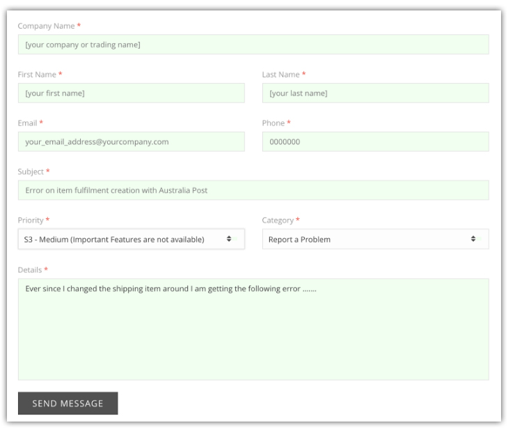 Support Form