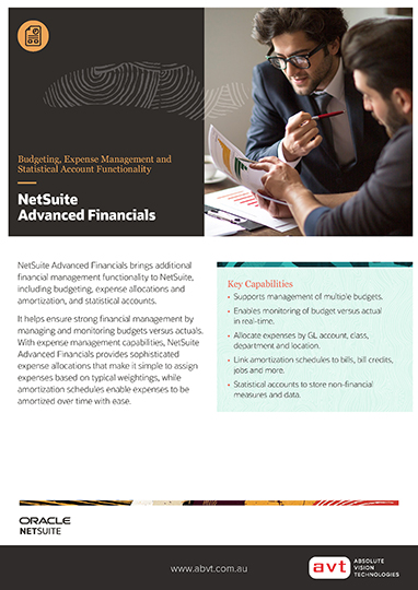 NetSuite Financial Management (Formerly Advanced Financials) Module DS