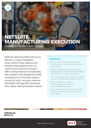 AVT NetSuite - Manufacturing Execution Module DS
