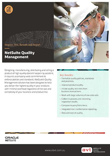 AVT NetSuite - Quality Management Module DS