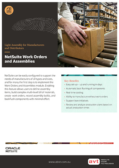 NetSuite Work Orders Assemblies Module DS
