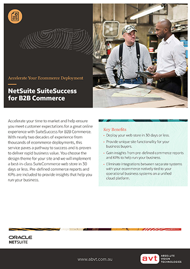 AVT SuiteCommerce SuiteSuccess b2b Commerce DS