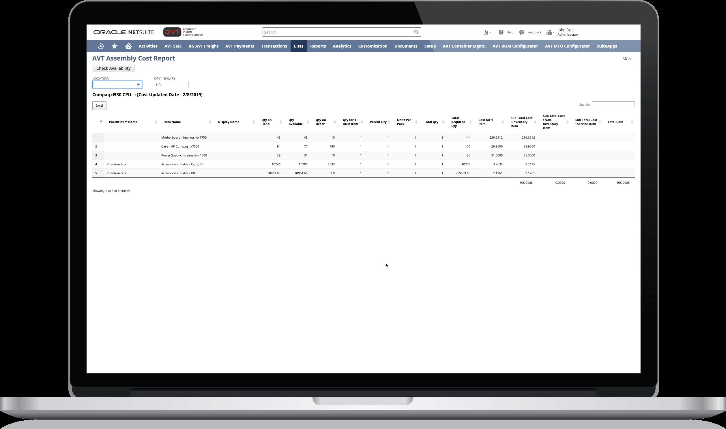 AVT Bill of Material (BOM) costing for NetSuite