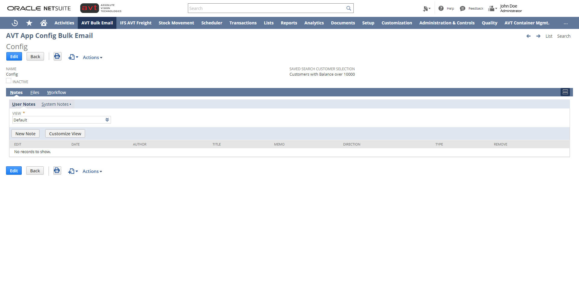 AVT Bulk Invoicing App Email - Configuration