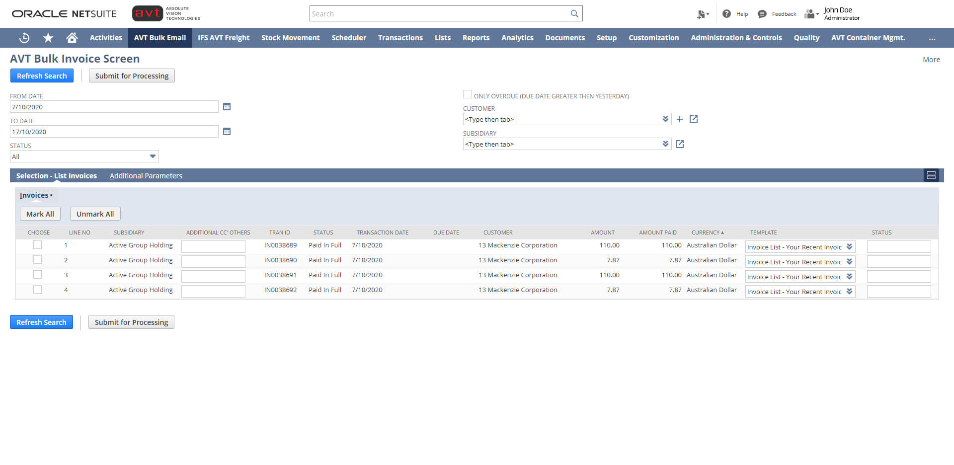 AVT Bulk Invoicing App - Invoicing Screen