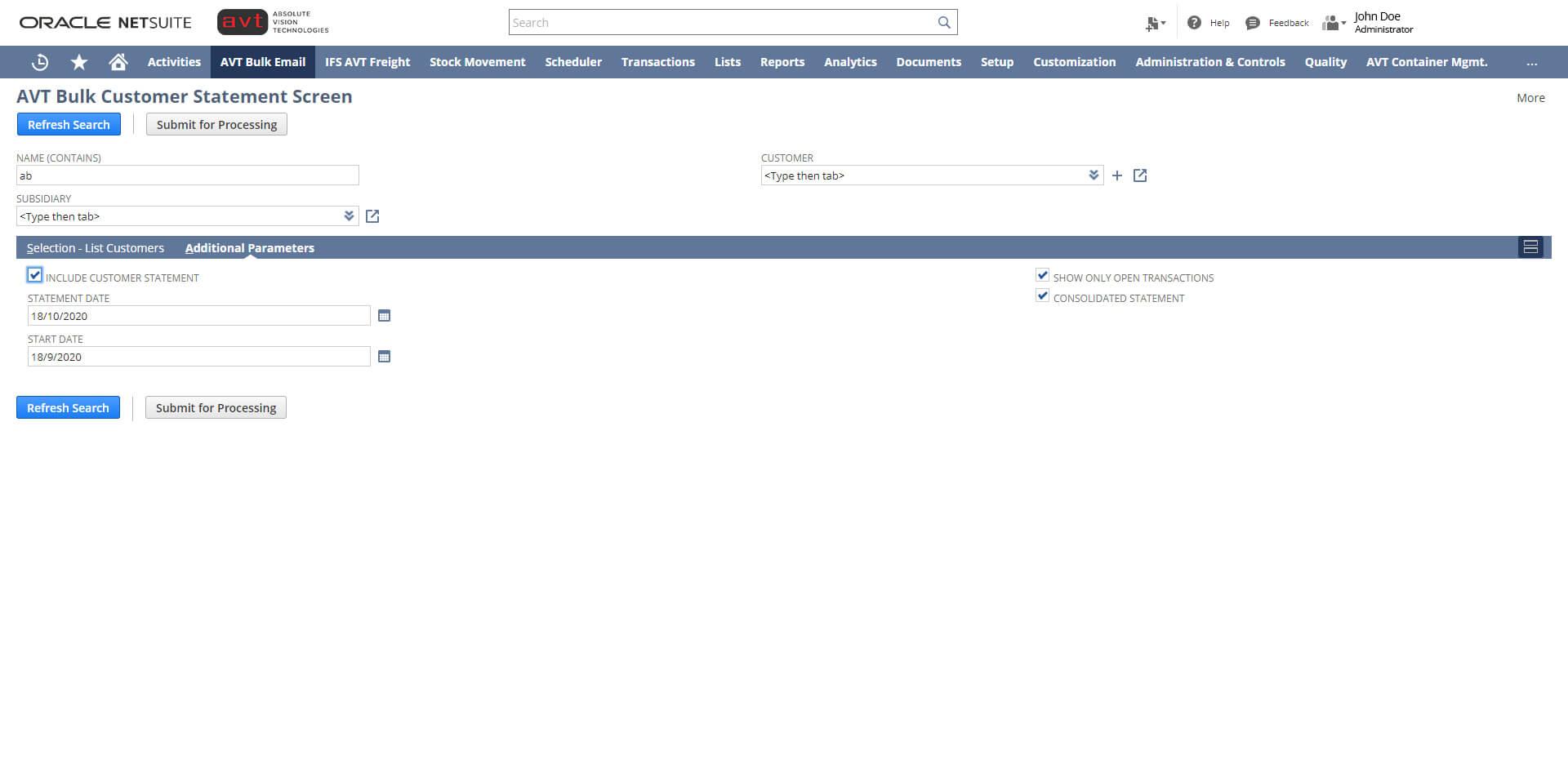 AVT Bulk Invoicing App - Screen 2