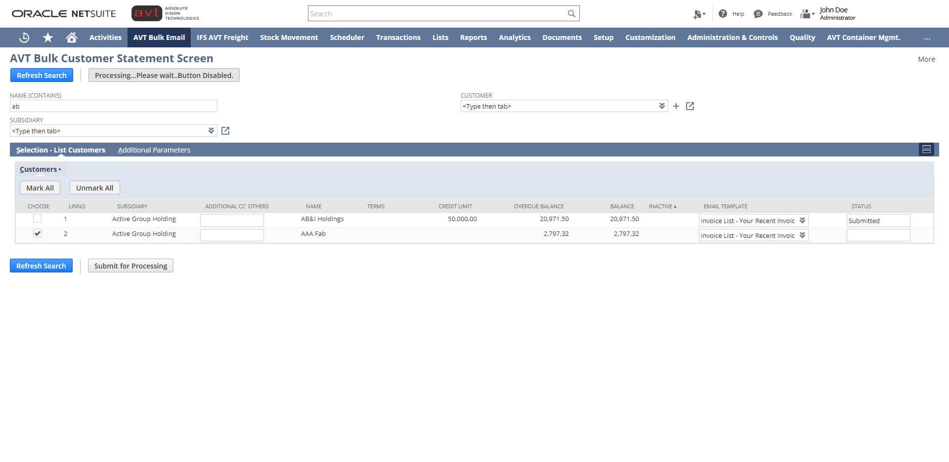 AVT Bulk Invoicing App - Screen 3