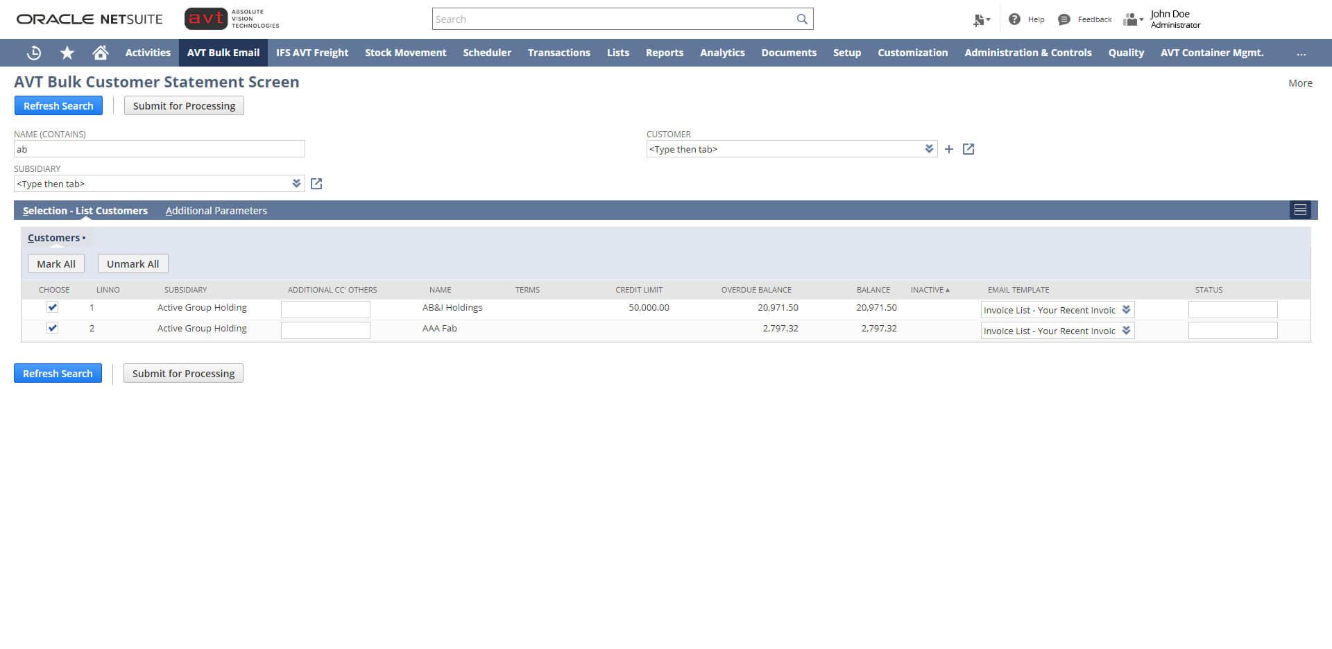 AVT Bulk Invoicing App - Screen 1