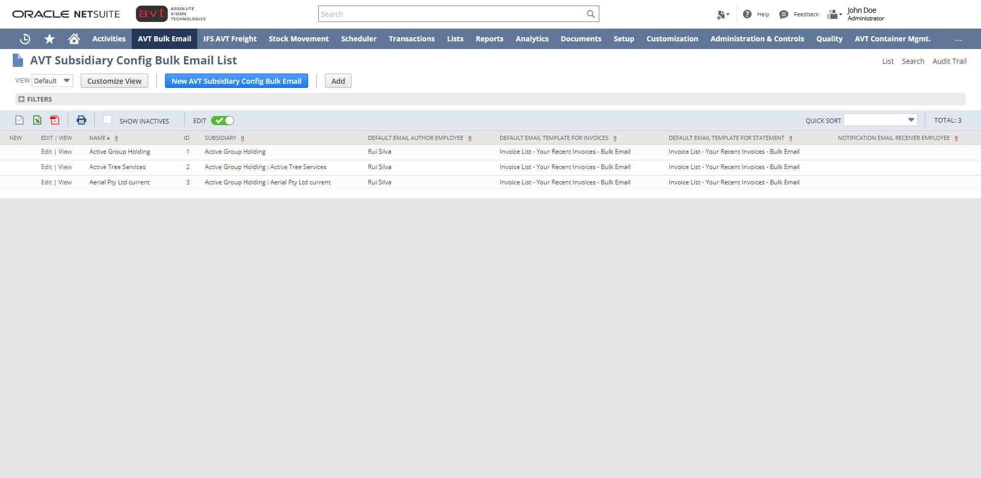 AVT Bulk Invoicing App - Subsidiary Configuration