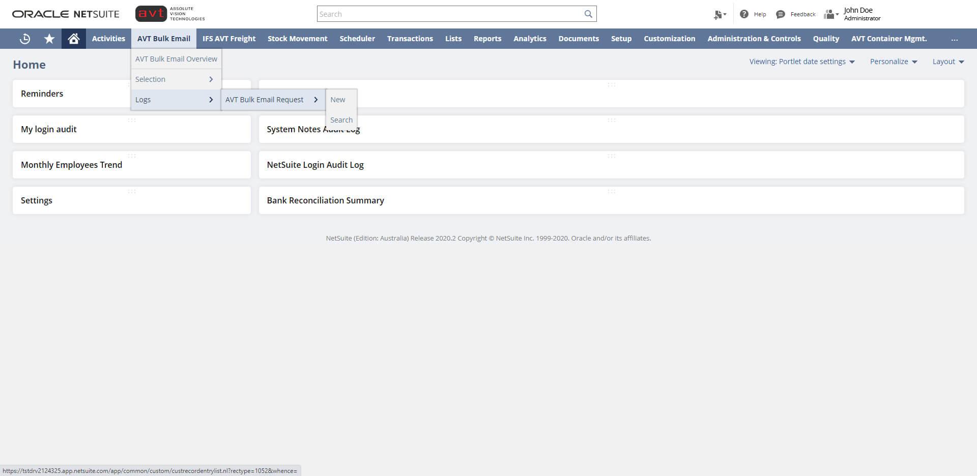 AVT Bulk Invoicing App - Log Record Navigation